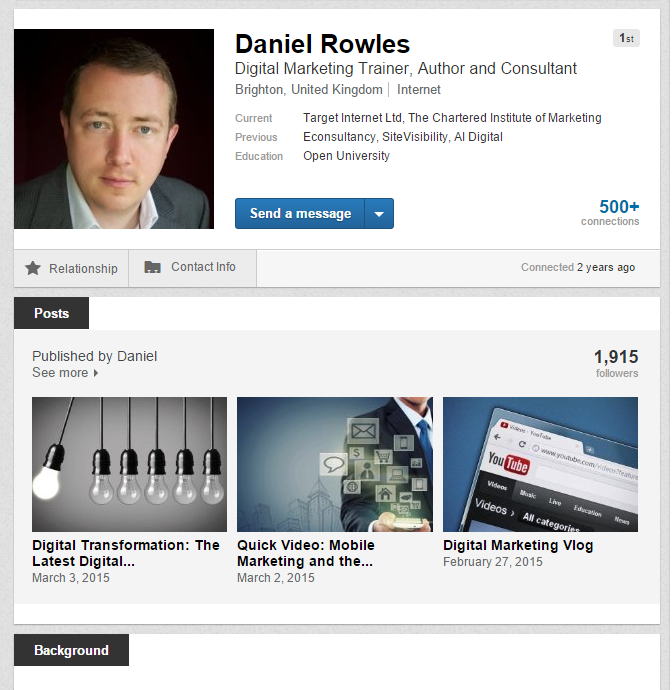 LinkedIn blogging by Daniel Rowles