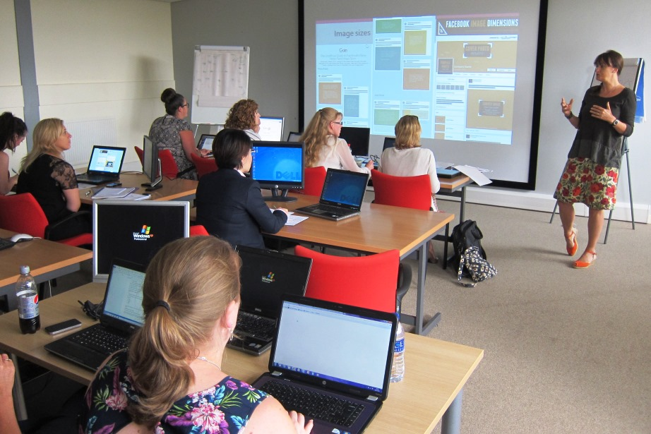 Marie coaching digital marketers from Glen Dimplex Group (Roberts Radio, Belling, Stoves and other brands)