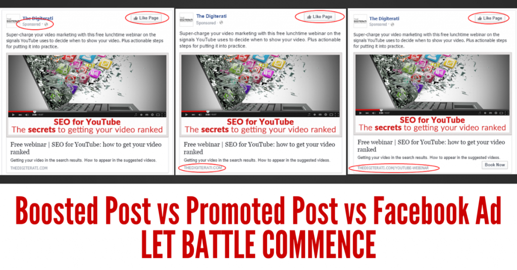 Boosted posts vs promoted posts vs separate ads on Facebook
