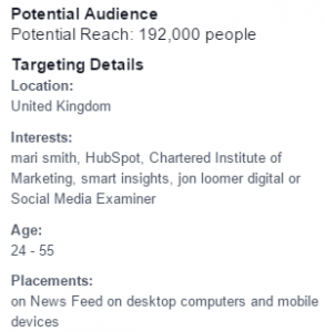 Targeting an ad on Facebook