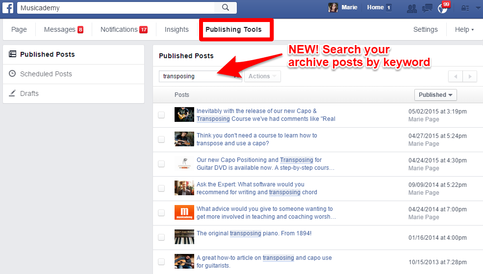 New! Facebook publishing tools  Finally a search function