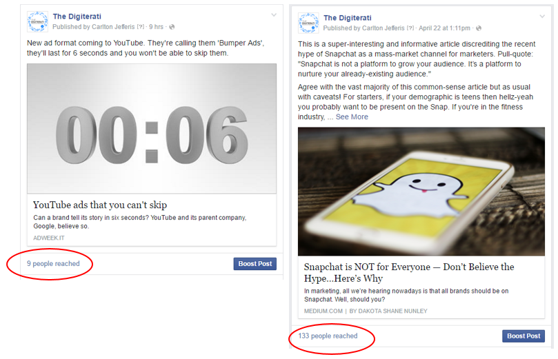 Facebook algorithm trigger words