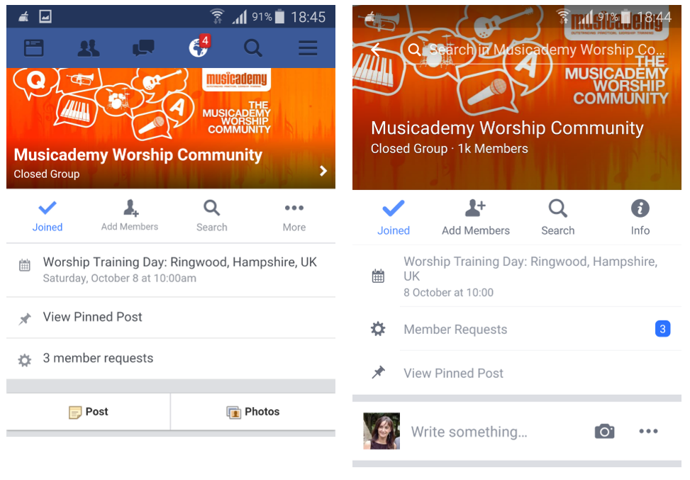 Mobile variants of Facebook Group Cover Images