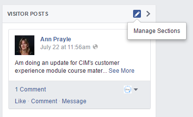 Manage Sections on Facebook Page