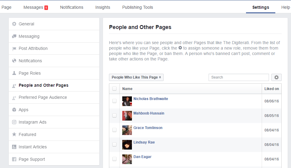 People and Other Pages Facebook fan info