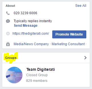 Facebook Group in Right Hand Nav