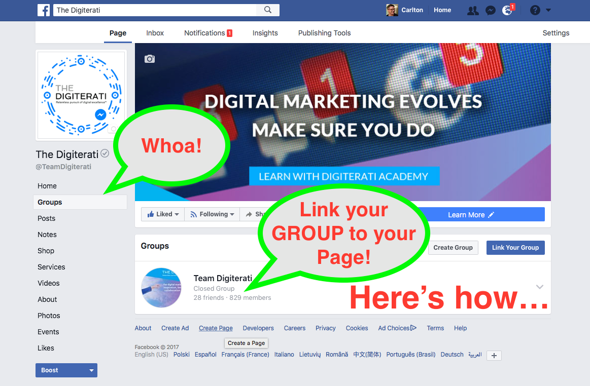 How to post as a Facebook Page in a Group PLUS link a Group