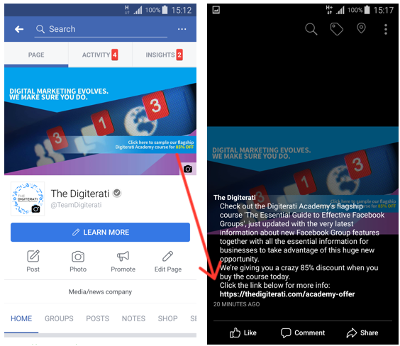 Facebook Cover Photo on Mobile