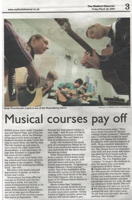 Musicademy article from 2004