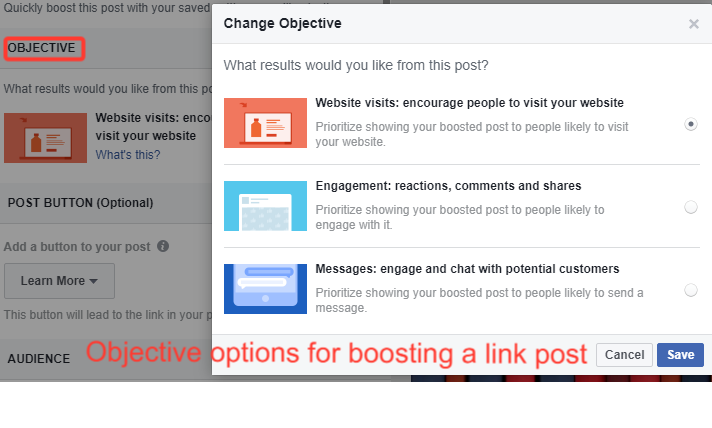 Objective-options-for-boosting-a-link-post-on-Facebook