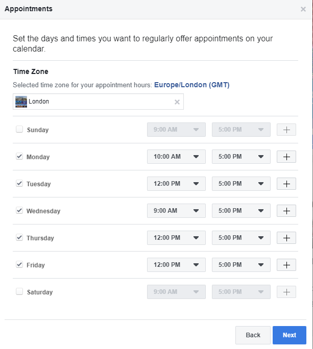 Appointment scheduling Facebook