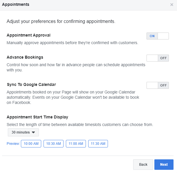 Set Facebook Appointments