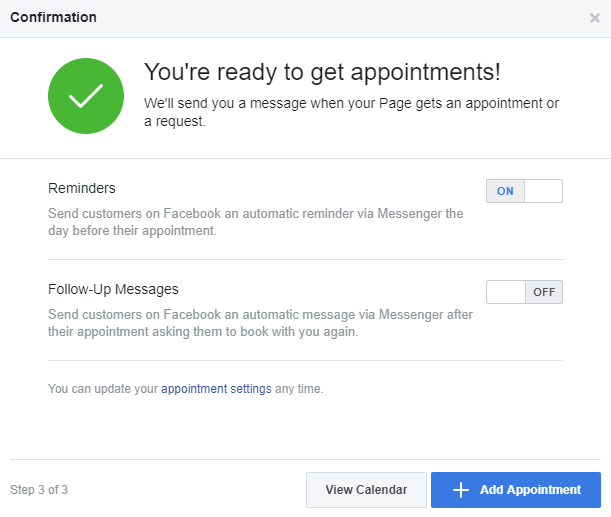 Facebook Reminders for Appointments